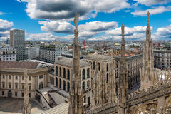 Piazza del Duomo from the roof of Duomo in Milan Stock Photography