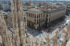 Piazza del Duomo from the roof of Duomo in Milan Royalty Free Stock Photo