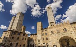 Piazza Del Duomo San Gimignano, W?ochy zdjęcia stock