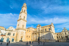 Piazza del Duomo square with Cathedral in Lecce Royalty Free Stock Image