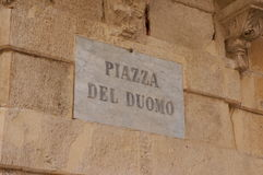 Piazza Del Duomo, Syracuse, Sicily, Italy. Street sign identifying the Piazza Del Duomo, the central square in the historical city center of Syracuse, Sicily Royalty Free Stock Image
