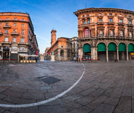 Piazza del Duomo and Via dei Mercanti in the Morning, Milan Stock Photo