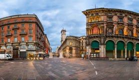 Piazza del Duomo and Via dei Mercanti in the Morning, Milan Stock Image