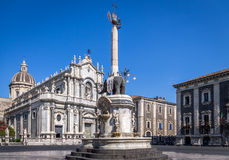 Piazza Del Duomo w Catania, słoń statui i katedrze, Santa Agatha, Sicily -, Włochy Zdjęcia Stock