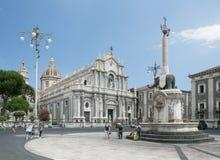 Piazza Del Duomo w Catania z katedrą Santa Agatha w Catania w Sicily, Włochy Obrazy Stock