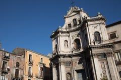 Piazza Del Duomo w Catania z katedrą Santa Agatha ja Obraz Stock