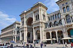 Piazza del Duomo y galería de Vittorio Emanuele II Fotografía de archivo libre de regalías