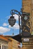 Piazza Del Nettuno Bologna. Art Deco light on the side of Piazza Del Neptune Bologna Italy stock photo