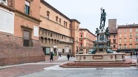 Piazza del nettuno with Fountain in Bologna. BOLOGNA, ITALY - OCTOBER 31, 2012: Piazza del nettuno with Fountain Neptune in Bologna city. The Fountain was stock image