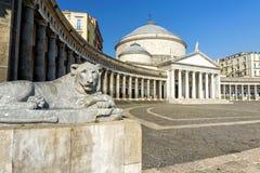 Piazza del Plebiscito i Naples royaltyfria bilder