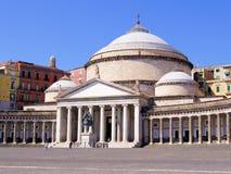 Piazza del Plebiscito, Napels stock afbeeldingen