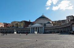 Piazza del Plebiscito, Napoli Royaltyfria Bilder