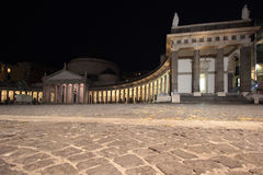Piazza del Plebiscito during the night, Naples Italy Stock Images