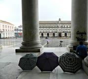 Piazza del Plebiscito, regnig dag i höst Arkivbild