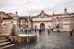 Piazza del Popolo广场在罗马 免版税库存图片