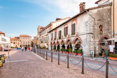Piazza Del Popolo in the city center of Arona, Italy Stock Photos