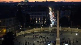 Piazza del Popolo est grand à angle droit urbain à Rome, Italie Timelaps clips vidéos