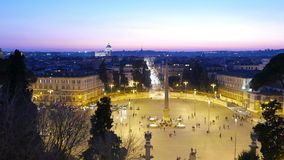 Piazza del Popolo. Evening, Panorama. Rome, Italy stock video