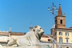 Piazza Del Popolo, fontanna lwy, szczegół, Rzym, Włochy Zdjęcia Royalty Free