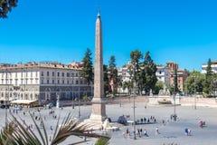 The Piazza del Popolo is a large urban square in Rome stock photo