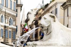 Lion statues of Obelisk fountain in People`s Squar, Rome. Piazza del Popolo , lion statues of Obelisk fountain in People`s Squar, Rome stock photography