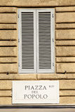 Piazza del Popolo nameboard Royalty Free Stock Image