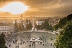 Piazza del Popolo nel tramonto Fotografie Stock Libere da Diritti