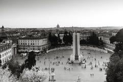 Piazza del Popolo på solnedgången Arkivbilder