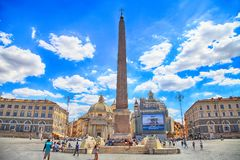 Piazza del Popolo People ` s正方形在罗马,意大利 免版税图库摄影