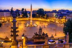 Piazza del Popolo People ` s正方形在罗马,意大利 免版税库存图片