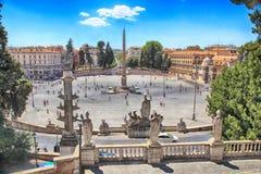 Piazza del Popolo People ` s正方形在罗马,意大利 库存图片