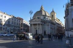 Piazza del Popolo People s正方形,罗马 免版税库存图片