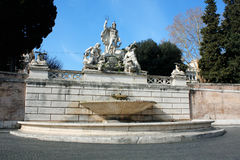 Piazza del Popolo People`s Square named after the church of Sa. Nta Maria del Popolo in Rome, Italy Stock Photography
