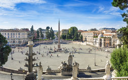 Piazza del Popolo  People s Square  named after the church of Santa Maria del Popolo in Rome Stock Photography