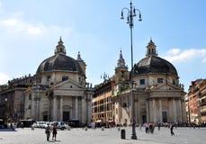 Piazza del Popolo (People's Square), Rome. Unique symmetrical Churches of Santa Maria in Montesanto and Santa Maria dei Miracoli at Piazza del Popolo, Rome Royalty Free Stock Photography