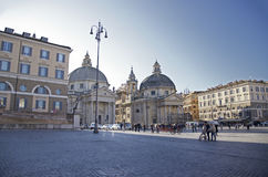 Piazza del popolo, Roma, Italy. Photos travel, attractions, interesting artifacts, beautiful people Royalty Free Stock Photos