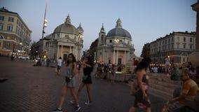 Piazza del popolo in Rome stock footage