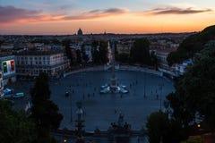 Piazza del Popolo Rome Royalty-vrije Stock Foto's