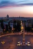 Piazza del Popolo Rome Stock Afbeelding