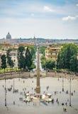 Piazza del Popolo, Rome, från över Arkivbilder
