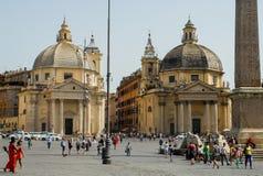 Piazza del Popolo, Rome, Italië Stock Afbeeldingen
