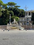 Piazza del Popolo, Rome, Italy, Fountain of the goddess of Rome Royalty Free Stock Image