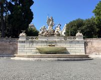 Piazza del Popolo, Rome, Italy. Fountain of Neptune. Royalty Free Stock Photography