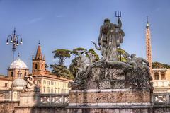 Piazza del Popolo in Rome and the Neptune statue Royalty Free Stock Photos
