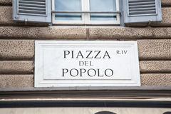 Piazza del Popolo sign Royalty Free Stock Photography