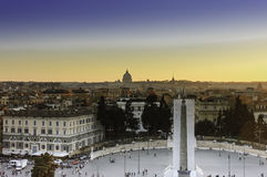 Piazza del Popolo at sunset royalty free stock image