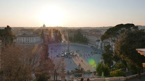 Piazza del Popolo at sunset. Panorama. Rome, Ital stock footage