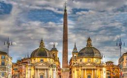Piazza del Popolo with twin churches, Rome, Italy. Piazza del Popolo with twin churches of Santa Maria in Montesanto and Santa Maria dei Miracoli Piazza del Royalty Free Stock Photo