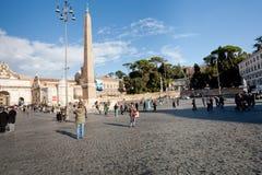 Piazza del Popolo è un grande quadrato urbano a Roma Immagini Stock Libere da Diritti