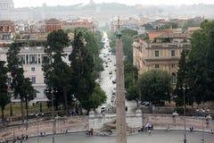 Piazza del Popolo and via Flaminia seen from Pincio terrace in Rome. Stock Photo